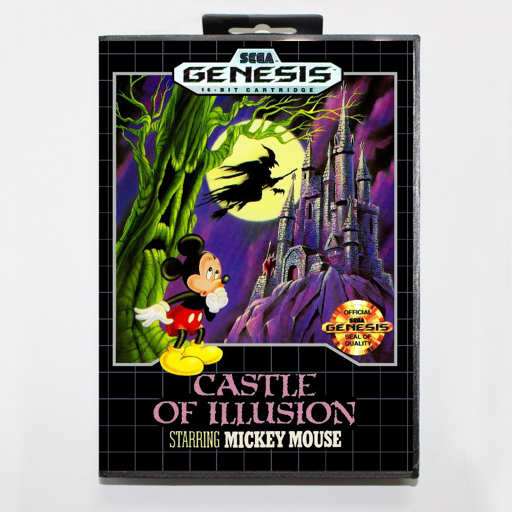 0a03666c895 16 bit Sega MD game Cartridge with Retail box - Castle Of Illusion game card  for