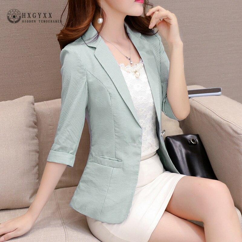 Fashion Cotton Jacket Summer Blazer Women Suit Three Quarter Short Single Button Blazers OL Outerwear Ladies Suit Plus Size B096