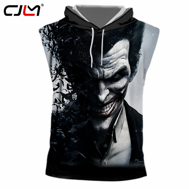 06ee488c CJLM Men Fitness Sleeveless Muscle Hoodies Hoody Workout Clothes Casual  Tshirts Printed Suicide Squad Joker 3d Hooded T-shirts