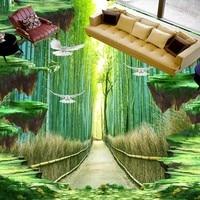 Free Shipping Bamboo Walkway Floor Painting 3d Flooring Custom Living Room Kitchen Self Adhesive Photo Wallpaper