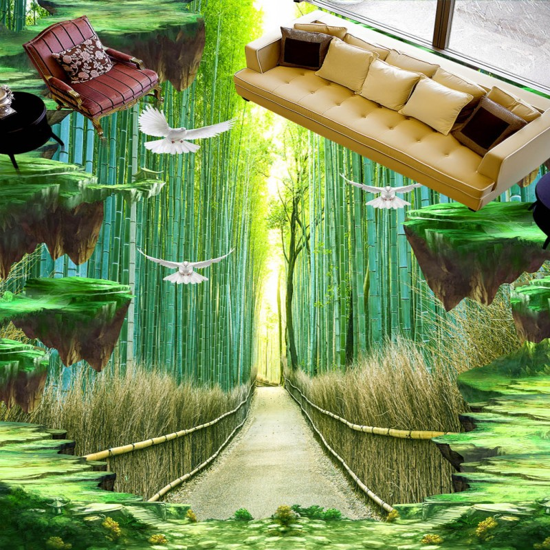 Free shipping Bamboo walkway floor painting 3d flooring custom living room kitchen self-adhesive photo wallpaper mural