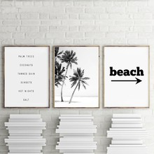 Wall Pop Art Modular Cuadros Pictures Poster Canvas Black And White Palm Trees Beach House Painting Prints Home Decor Restaurant(China)