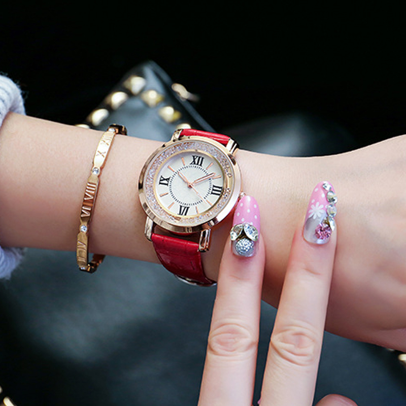 Ladies Fashion Quartz Watch Women PU Leather Casual Dress Women's Watch Rose Gold Crystal reloje mujer 2017 montre femme tezer ladies fashion quartz watch women leather casual dress watches rose gold crystal relojes mujer montre femme ab2004