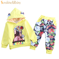 Fashion Thick Plush Baby Girl Sets Spring Winter Cute Ears Hooded Sweatshirt+Floral Pants 2pcs Suit Children Clothing Girls Sets