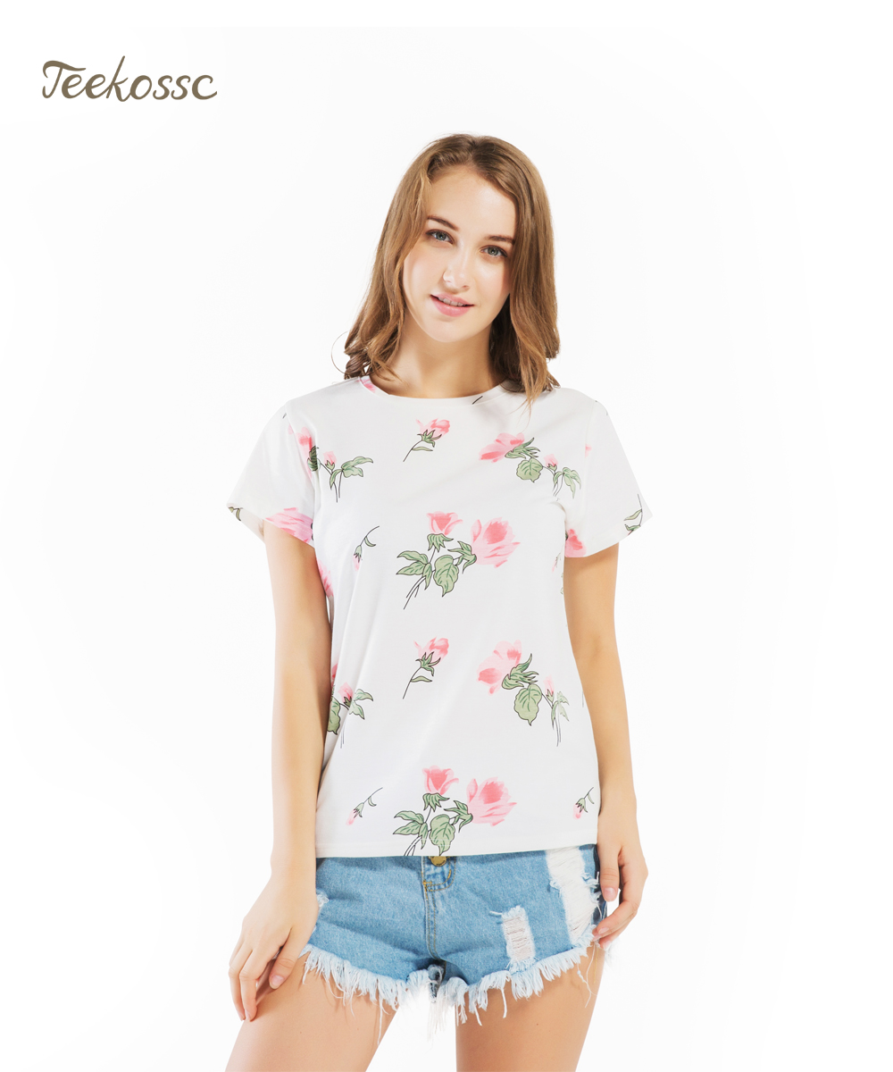 Floral Flower Pinted Women T Shirt Tops Tees 2018 Korean Style Summer Short Sleeve T-Shirts Cotton Tee Shirt Femme Tshirt Womens