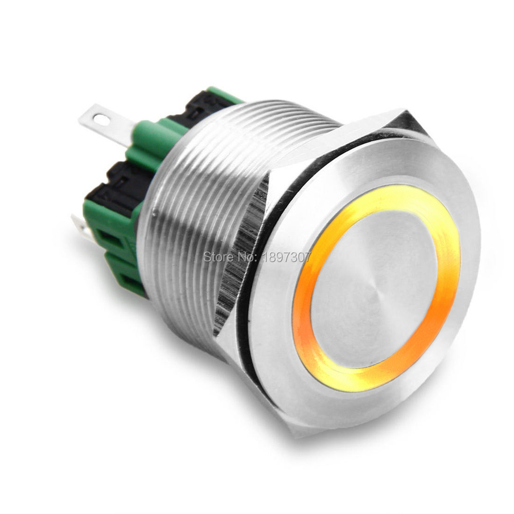 25mm Yellow Illuminated Top Quality Stainless Steel LED Light Reset Power On/Off Push Button Switch 6V,12V,24V,110V,220V