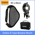 Godox S-Type Flash Speedlite Bracket Bowens Mount Holder + 60 x 60cm Softbox for Studio Photography
