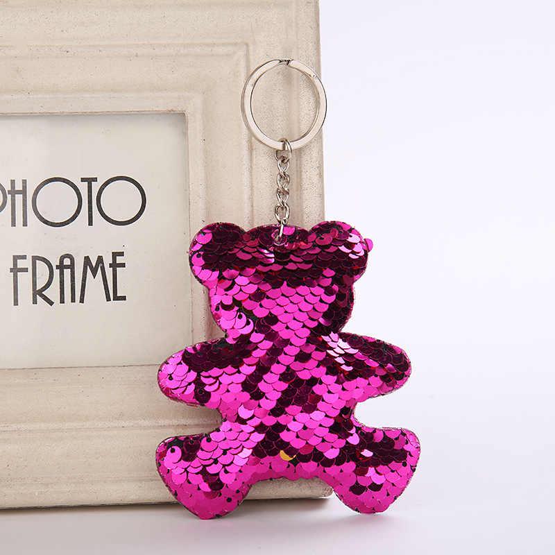 ผู้หญิงน่ารักหมีพวงกุญแจ Glitter Sequins Key แหวนสำหรับกระเป๋าถือผู้หญิงกระเป๋าจี้ Keyring Porte Clef Llaveros Porte Clef