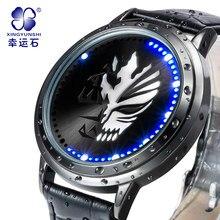 A death watch Venda Direta dos homens Digital relógios de Pulso Com Mostrador preto Pulseira de Couro Masculino Relógio de Luxo de Marcas Famosas À Prova D' Água