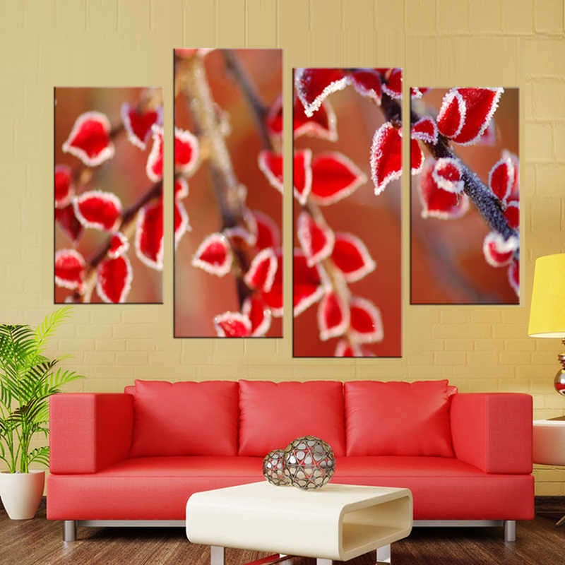 4Pcs/Set Watercolor  Red leaves  Canvas Art Print Poster, Wall Pictures for Girl Room Decoration, Giclee Wall Decor