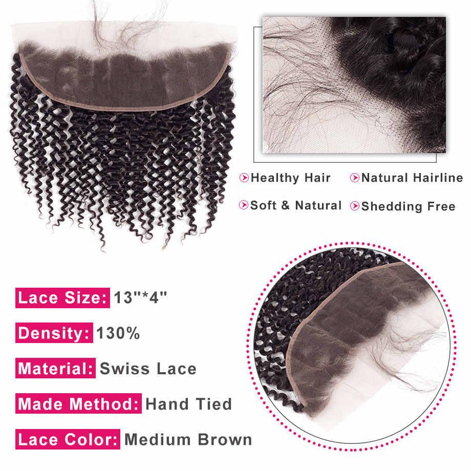 Cabello brillante 13*4 encaje Frontal cierre parte libre rizado cabello humano cierre con pelo de bebé peruano Remy color Natural del pelo