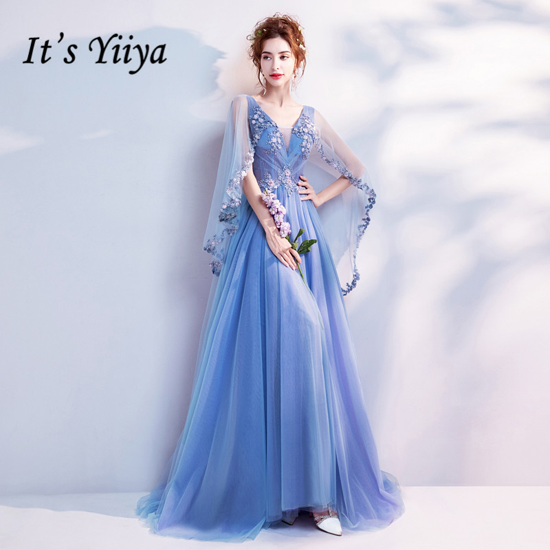 It's Yiiya Blue Bling Embroidery Trailing with Wrap   Evening     Dresses   V-neck Sleeveless Train Illusion Party Formal   Dress   LX265