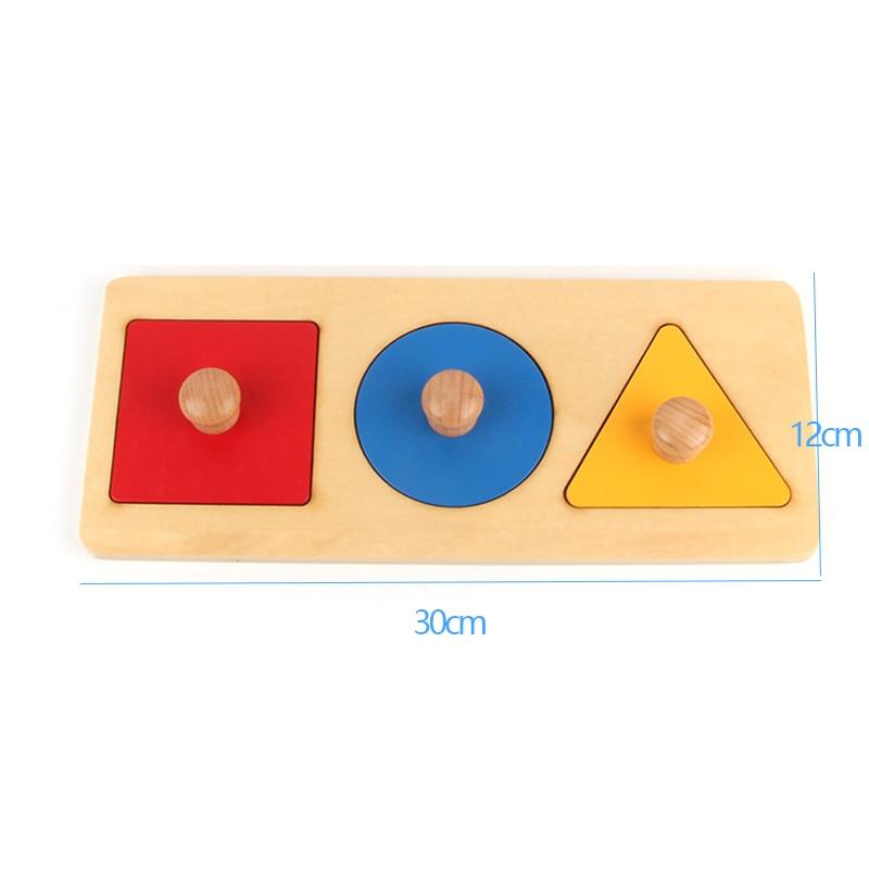Montessori Sensory Tactile Wood Knob Puzzles Peg Board Geometric Shape Match Color Cognitive Puzzle Board Learning Education Toy 10