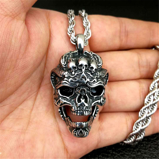Cool Santa Muerte Death Skull Ring Unique Mens Necklace Punk Rock Biker Jewelry Gift for Him Punk Rock Warrior Necklace