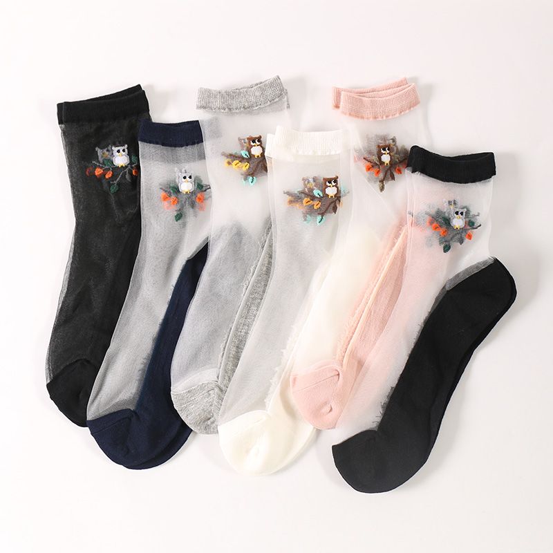 2 paris/set Women 2019 Summer Kawaii Ultra-Thin Transparent Cool Sheer Socks Femme Casual Cute Cartoon Birds Short Meias Mujer