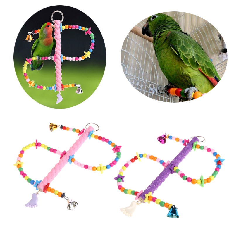 1PC Colorful Bird Parrot Hanging Swing Cage Toy Parakeet Budgie Lovebird with Bells S Shaped W215