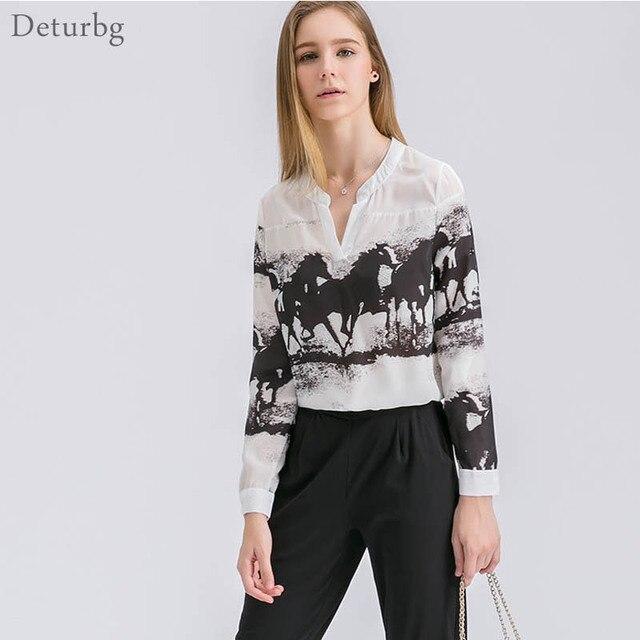 e9e28d963914a4 Women s Elegant Horse Print Shirts Blouses Spring Ladies Casual Long Sleeve V  Neck Chiffon White Tops Loose Blusas Br038