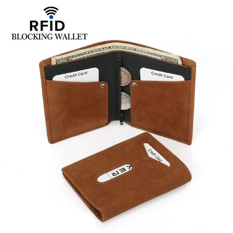 Rfid Blocking Originální kožené pouzdro na kreditní karty Peněženka Vintage Designer ID Card Case se zipem mincovní peněženka 2019 New Fashion