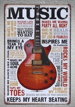 1 pc Guitar Music song singer love life quotes saying bar party Tin Plate Sign wall man cave Decoration Art Poster metal vintage