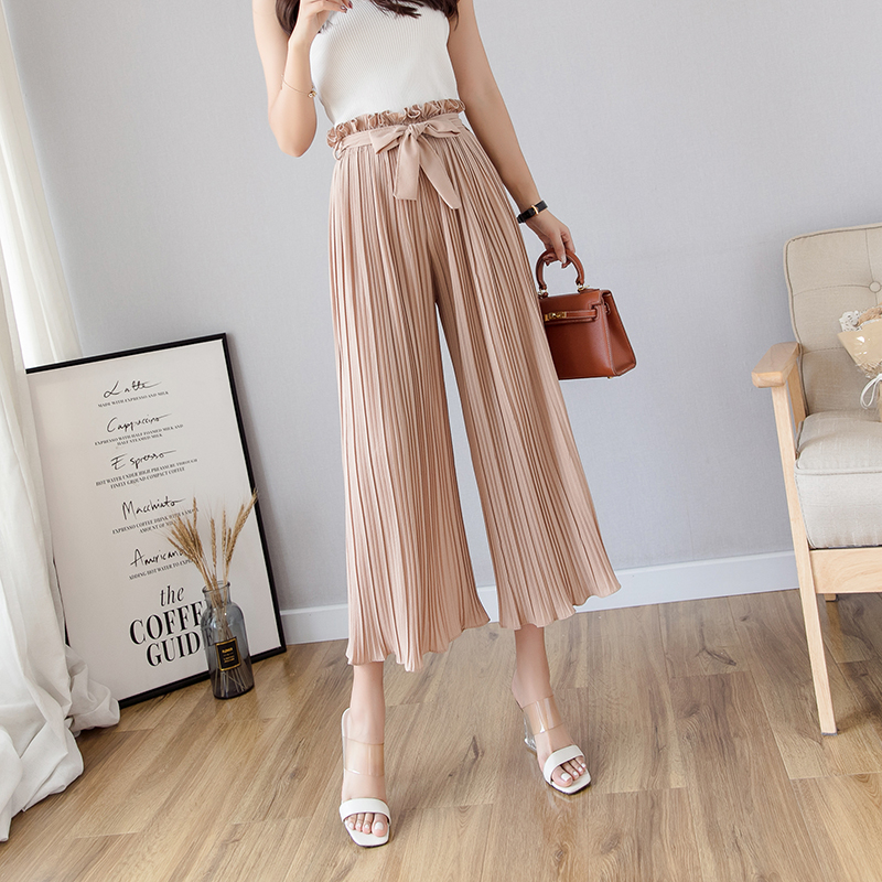 Summer   pants   female 2019 new high waist ruffled chiffon   wide     leg     pants   loose ankle length   pants   bohemian pleated trousers women