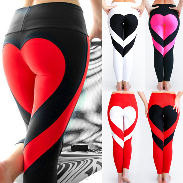 CROSS1946 Sexy Woman Heart-shaped Yoga Pants Fitness Hips Push Up Sport Running Tight