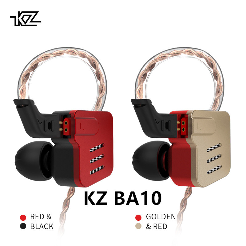 KZ BA10 Headphones 5BA Balanced Armature Driver HIFI Bass Earphones In Ear Sport Headset Noise Cancelling Earbuds For music qkz kd8 dual driver noise isolating bass in ear hifi earphone for phone wired stereo microphone control headset for music