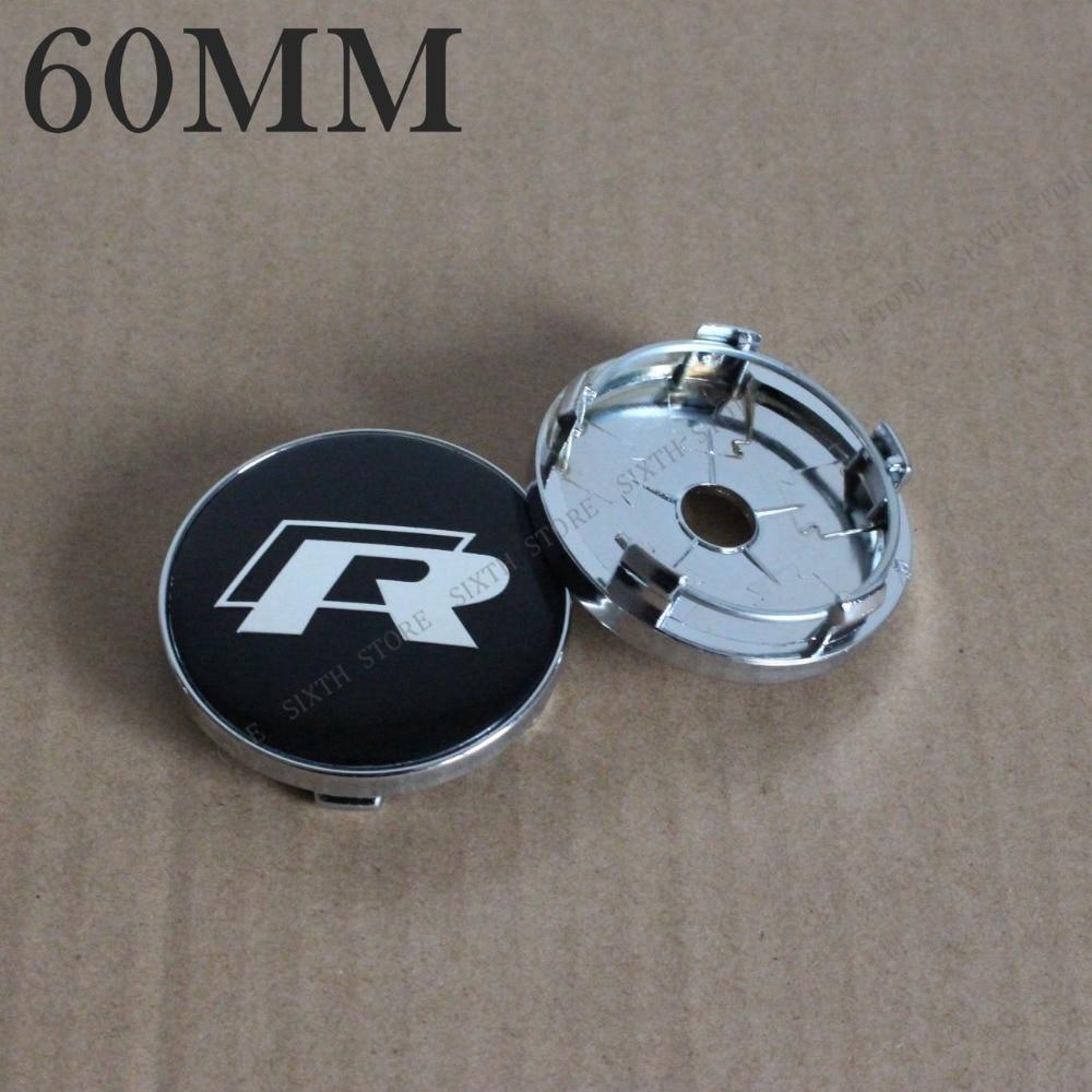 KOM POWER 4PCS 60MM Wheels-Covers Hubcaps R-Line Cap Wheel Centre Caps Letter R Logo Sticker Emblem 60MM Center Cap For Rims