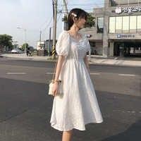MISHOW Frauen Sommer Kleid 2019 Koreanische Sweety Soild Weiß Kleider Für Mädchen Dünne Hohe Taille Weibliche Midi Vestidos MX19B1907