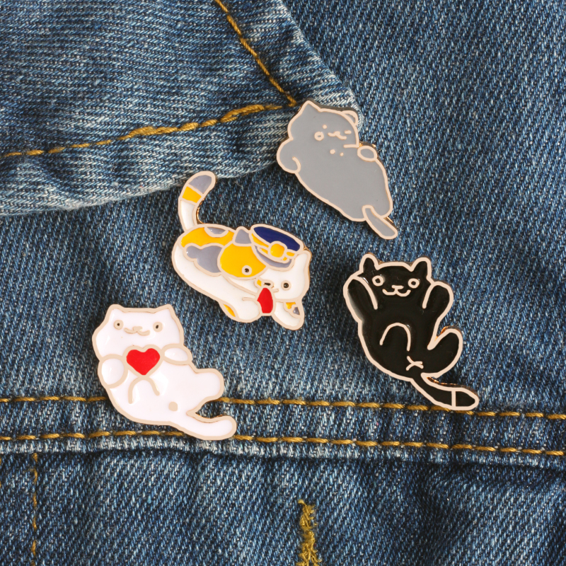 cindy  jewelry Fashion Creative 4 Style Enamel Pin Cute Mini Cat Metal Brooch Cartoon Funny Animal Brooches Denim Clothes Badge Pins Button