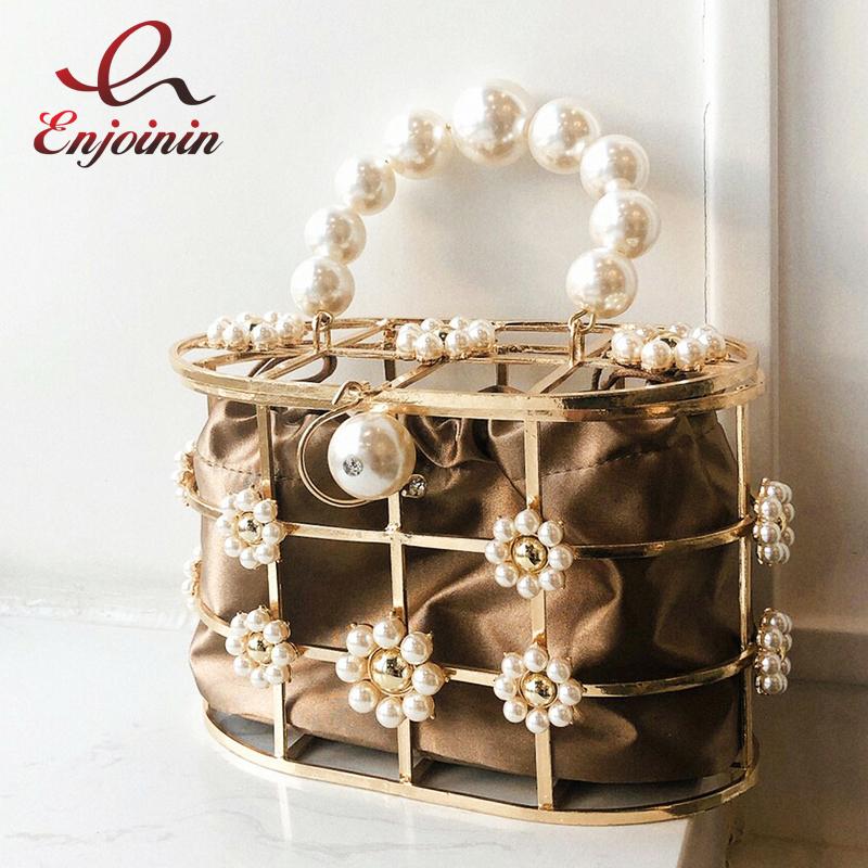 New Luxury Metal Iron Basket Pearl Diamond Fashion Women Party Tote Bag Dinner Bag Female Hollow Purse Bolsa Designer Bag