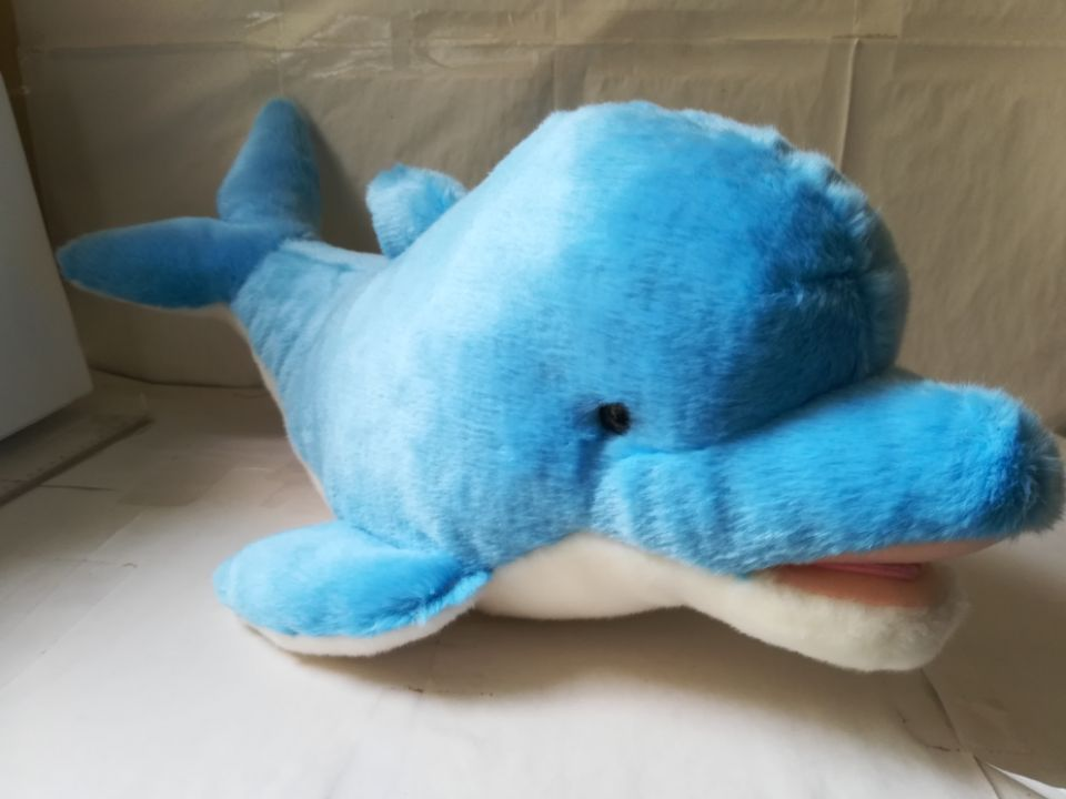 large 60cm lovely blue dolphin plush toy soft doll throw pillow Christmas gift s2219 super cute plush toy dog doll as a christmas gift for children s home decoration 20