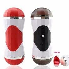 Electric Lick Suck Voice Automatic Male Masturbator Cup Vagina Real Pussy Vibrating Telescopic Oral Sex Machine For Men