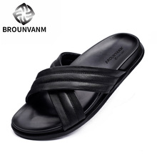 Hot ! Men REAL Leather Pure Black Outdoor Slipper Slides Casual Sandals Man Summer Beach Touring Shoes