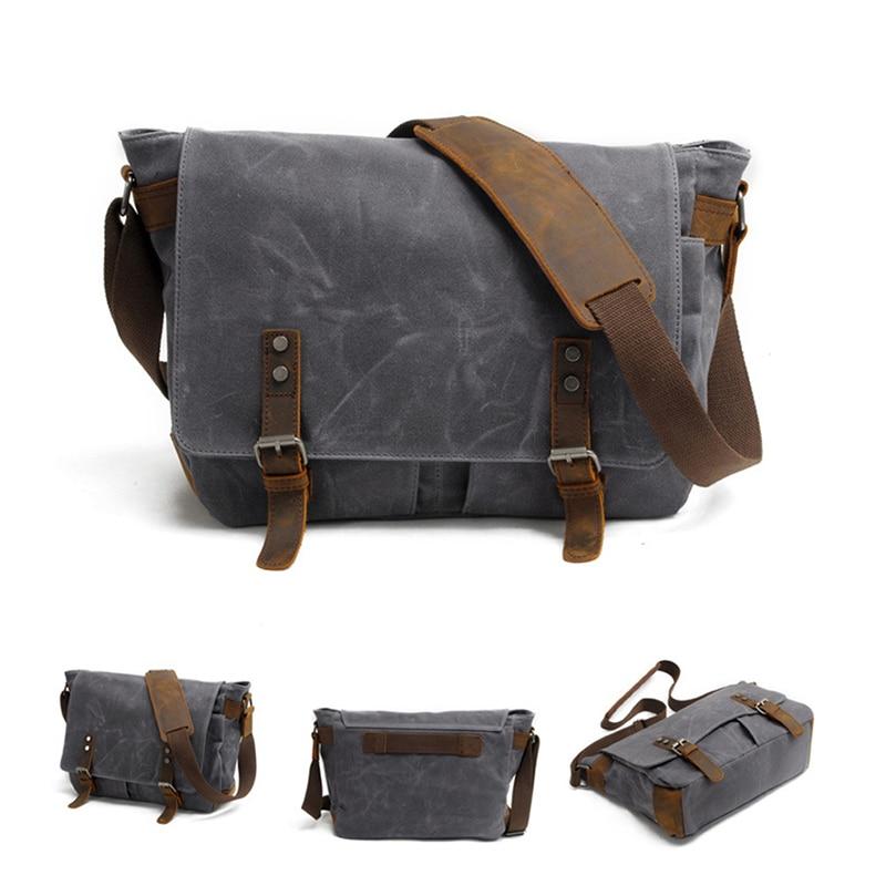 AUGUR Men s Messenger Bag Multifunction Canvas Leather Crossbody Bag Men  Military Army Vintage Large Shoulder Bag Travel Bags 58ecbb3177c75