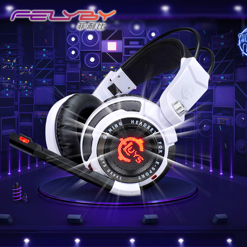 High quality Headphones GS-941 White USB 7.1 Surround Sound Earphones Gaming Headset with USB Stereo for PC Glowing headphone each g8200 gaming headphone 7 1 surround usb vibration game headset headband earphone with mic led light for fone pc gamer ps4