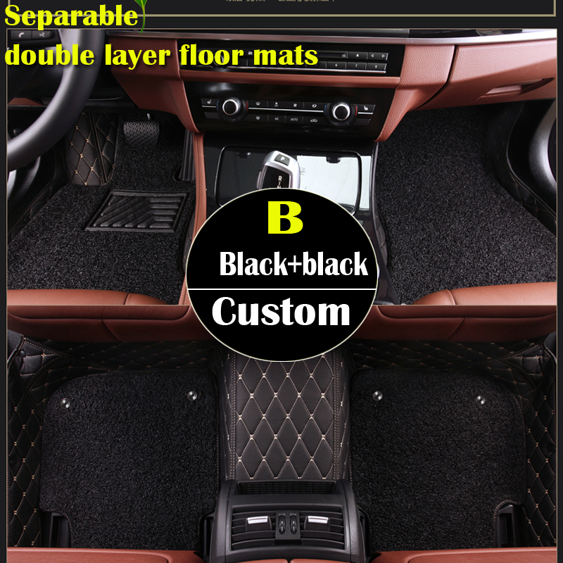 double layer custom car floor mats for Cadillac SLS ATSL CTS XTS SRX CT6 ATS Escalade auto accessories car styling auto mats custom fit car trunk mat for cadillac ats cts xts srx sls escalade 3d car styling all weather tray carpet cargo liner waterproof
