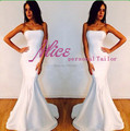 Elegante vestidos reales del satén Formal de la tarde vestidos diseñador Sexy Fishtail sin tirantes largos blancos de la sirena 2014 envío gratis
