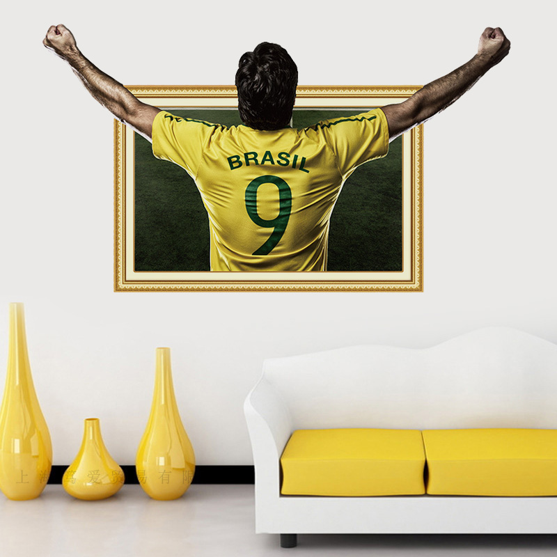 Football player wall sticker PVC Material Art picture frames wall ...