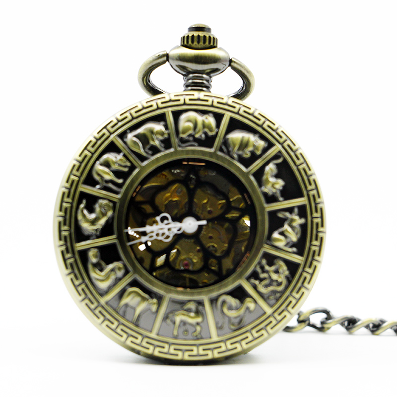 Top Retro Bronze Zodiac Pocket&Fob Watches Vintage Roman Number Mechanical Pocket Watch for Men Women Watch PJX1297