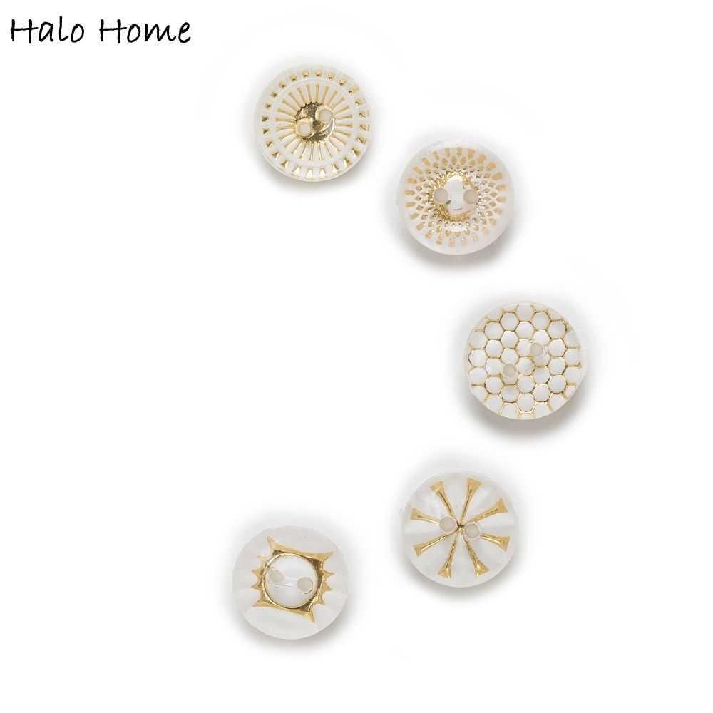 50db átlátszó beágyazott minta 2 lyukú kerek akril gombok - Művészet, kézművesség és varrás