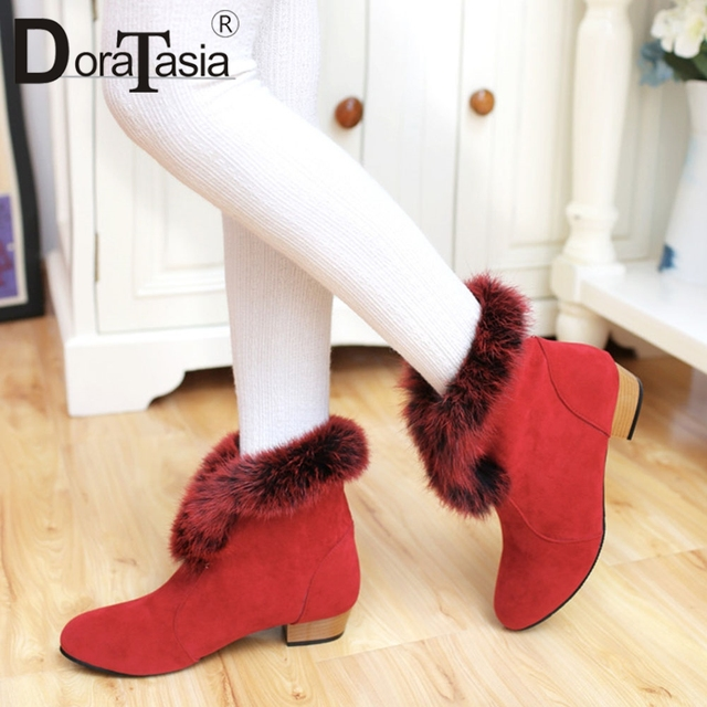 DoraTasia New Solid Fur Boots Slip On Wide Low Heels Round Toe Shoes Woman Casual women's Winter Warm Ankle Boots Big Size 31-43