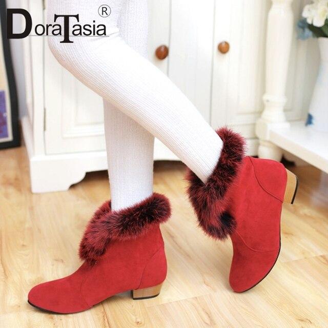DoraTasia nowy jednolity futerkowe buty Slip On szerokie niskie obcasy okrągły buty z palcami kobieta na co dzień kobiety zimowe ciepłe kostki buty duży rozmiar 31-43