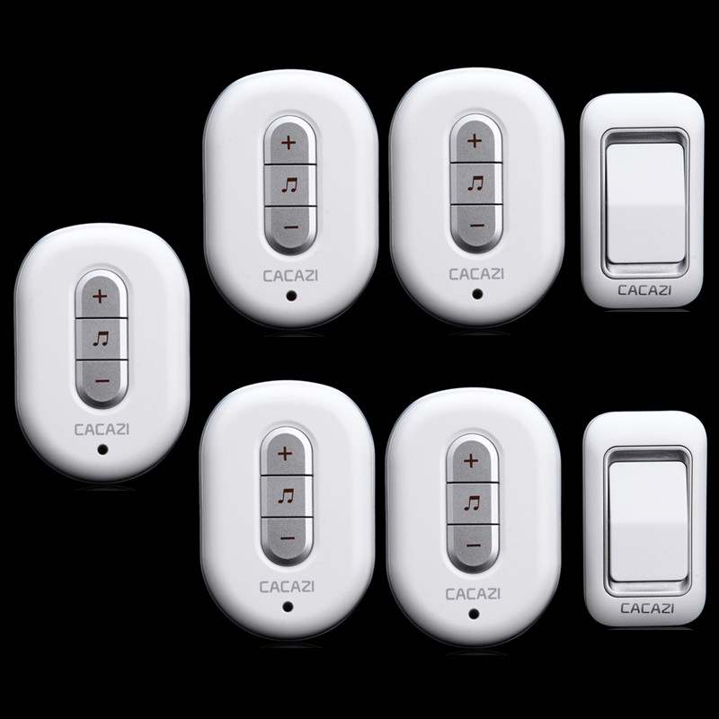 ФОТО 2 transmitters+5 receivers 300M remote control elderly pager AC 110/220V Wireless Doorbell Waterproof Door Bell wireless digital