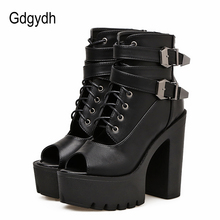Gdgydh Lacing Black Leather Women Shoes High Heels New Spring Open Toe Ankle Boots For Platform Block Fashion Buckle