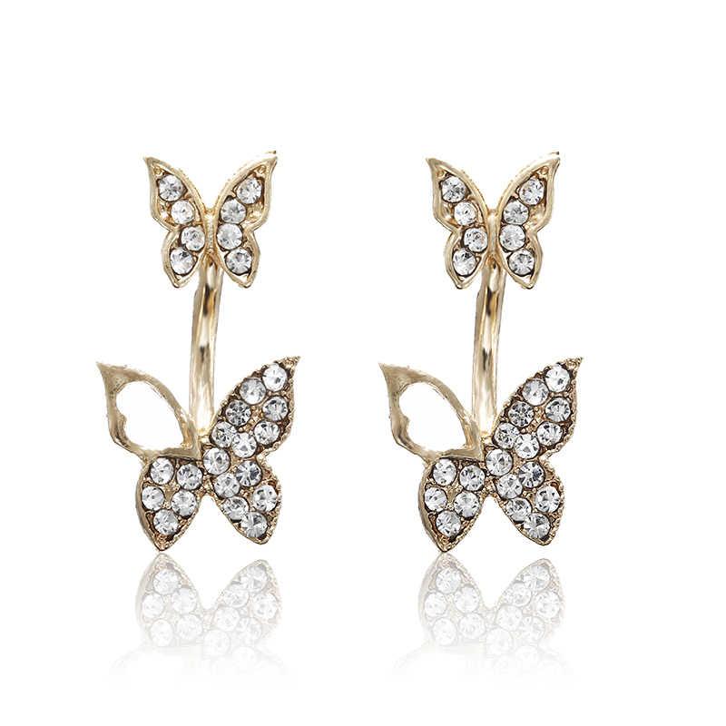 E0169 Beautiful Butterfly Stud Earrings Shiny Full Rhinestones Butterflies  Earrings For Women Girls Statement Ear Jewelry 508a48bf3d04