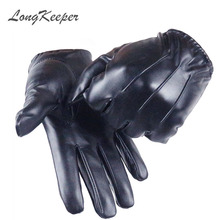 LongKeeper 2017 Hot Women's Full Finger Gloves Female PU Leather Driving Fashion Solid Winter Thick Warm For Men G243
