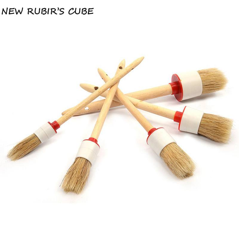 5pcs/set Car Hub Wood Handle Brush Car Cleaning Tool Wheels Air Conditioning Engine Horn Car Cleaning Wooden Handle Brush