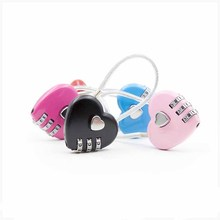 Password Lock Wire Rope Travel Heart Shaped Padlock 3 Dial Digit Suitcase Security Mood Love Gift