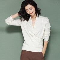 womens top Gauze long sleeve V neck t shirt all match tee white brown black navy blue gray blue t shirt women bts