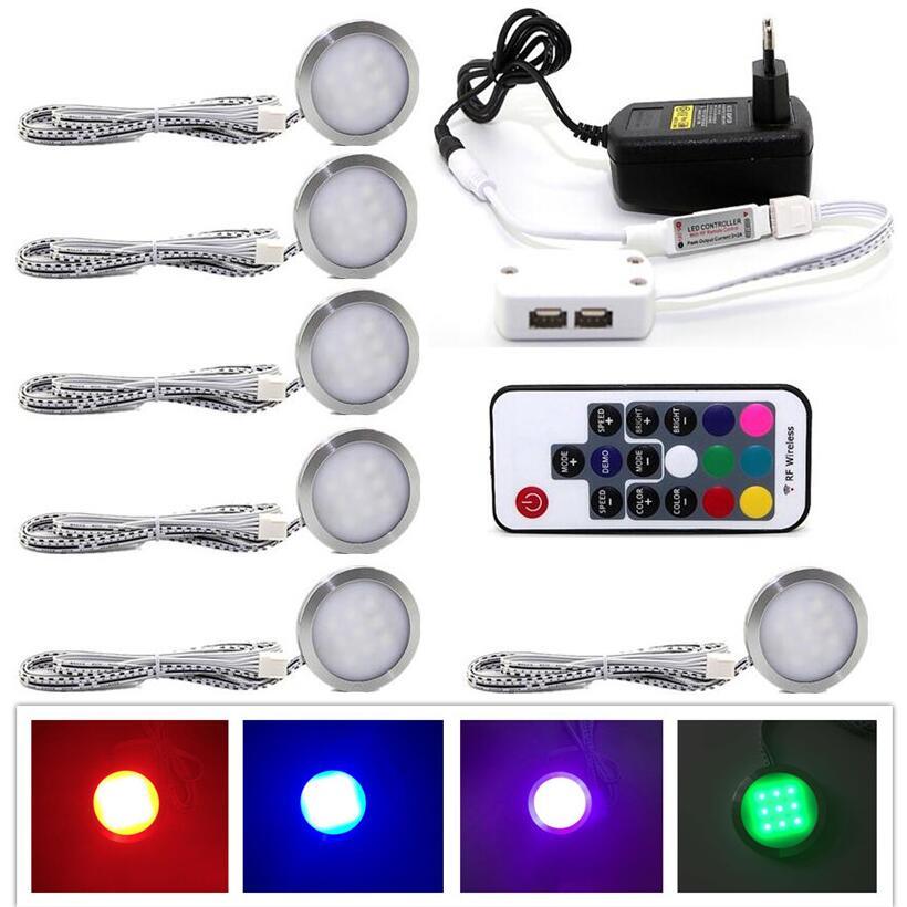 6 RGB Color Changing LED Under Cabinet Puck Lights Kit RF ...